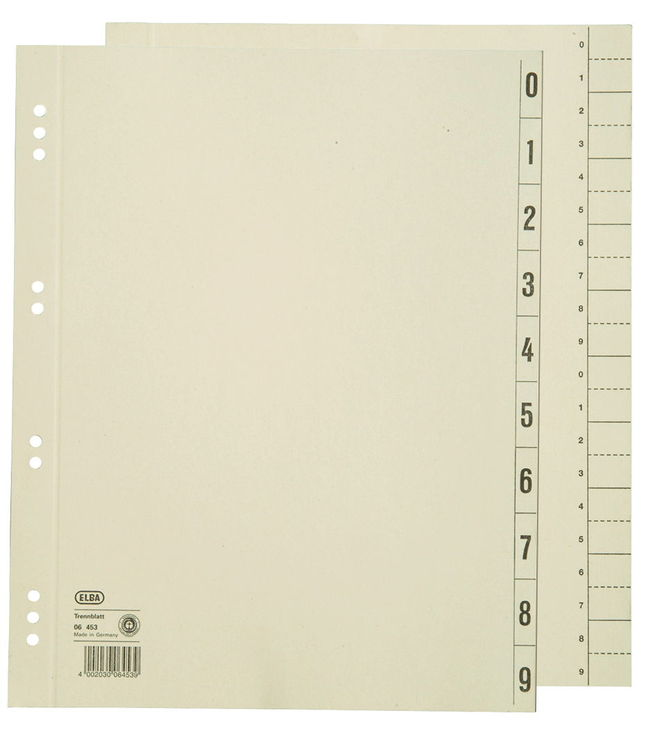Manilakarton grau 6 Blatt Leitz Kartonregister f/ür H/änge-Universalakte A4