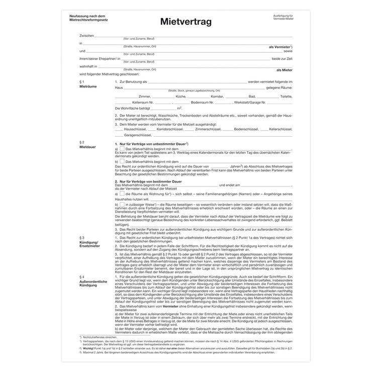 Herlitz Mietvertrag A4 Für Wohnräume 4 Seitig Papersmart