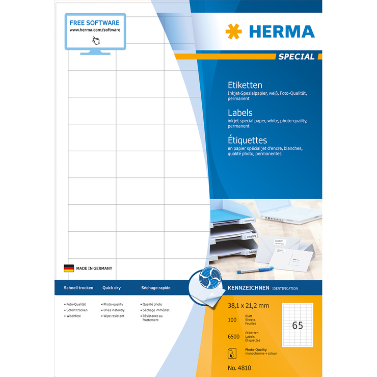 herma special a4 inkjet etiketten 100 blatt packung papersmart. Black Bedroom Furniture Sets. Home Design Ideas